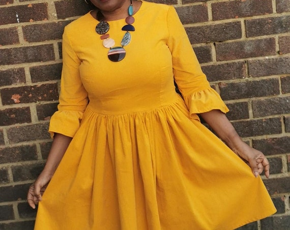 Corduroy Dress   Needlecord Dress   Mustard coloured Corduroy Dress Handmade by ElizabethJulianah