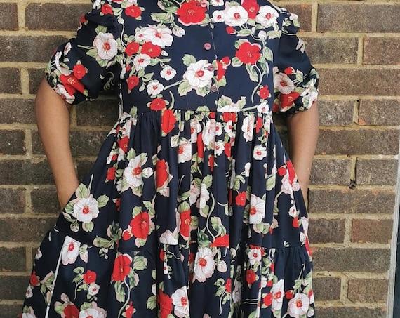 Navy Blue Floral Smock Dress, Empire Line tiered dress by ElizabethJulianah