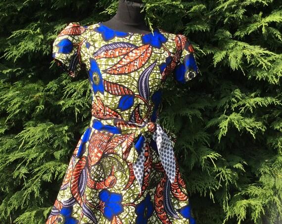 Mini African Print Dress/Mini Skater dress with princess seamed bodice in African Wax Print/Ankara Dress