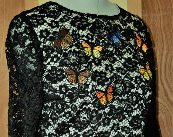 Black cord lace dress with flute sleeves/Butterfly Motifs/70s Silhouette/Vintage