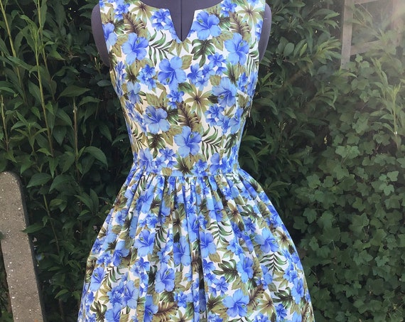 "Floral Dress | Midi Dress | Vintage Dress | Dresses| Lounge Wear | Blue Dress | ""Blue Hibiscus Flowers"""