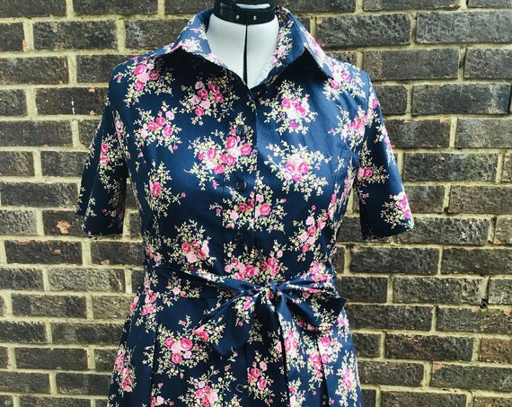 Vintage Shirt  Dress | Vintage Floral Fabric  | Shirt Dress | Summer Dress | Lounge wear