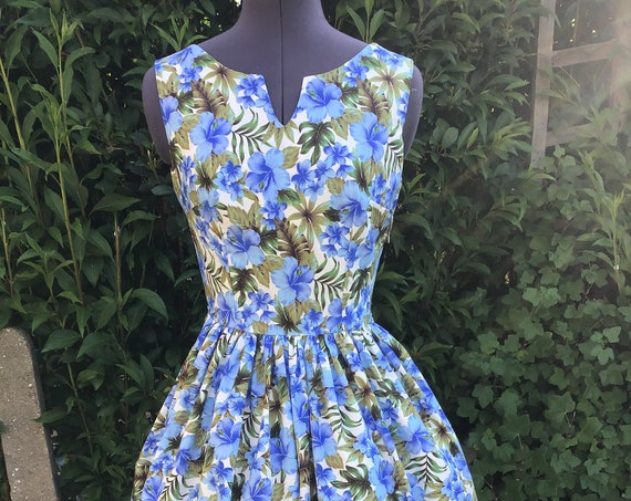 "Flora Midi Dress ""Blue Hibiscus Flowers"""