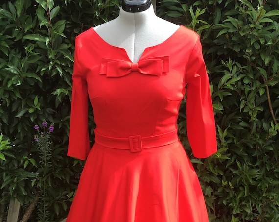 Vintage Dress | Vintage Inspired Dress | Midi Dress | 1950s | Swing Dress | Red Cotton Dress