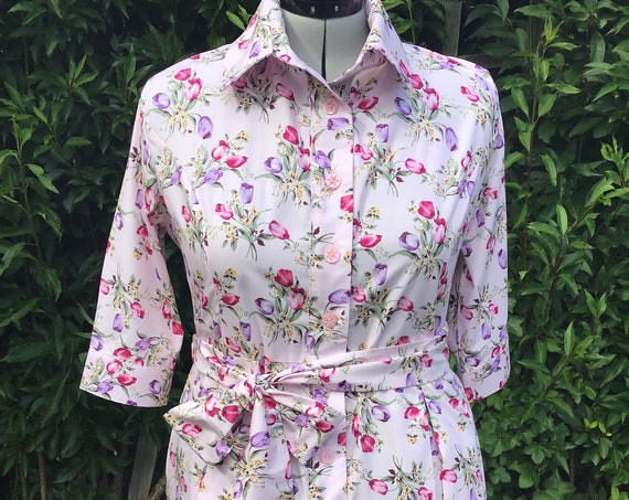 Shirt  Dress | Vintage Floral Fabric  | Shirt Dress | Summer Dress | Lounge wear