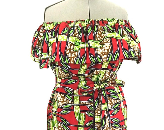 African  Print Dress, Slip on Dress,Bardot neckline