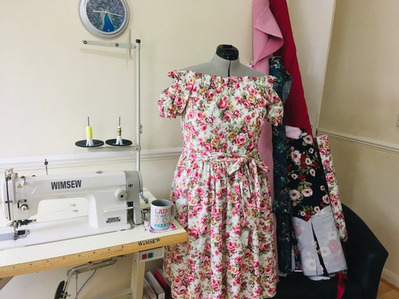 "Floral Dress | Midi Dress | Vintage Dress | Dresses| Lounge Wear | Pink Dress | Plus Size Dress |  ""English Rose"""