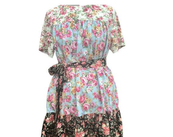 Vintage Dress| 1980s Dress | Women's Dress | Floral Dress | Midi Dress   | Dresses|  Lounge Wear |  Cotton  Dress