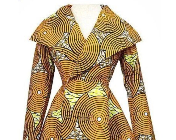 African Print Dress/Shawl Collar Neckline