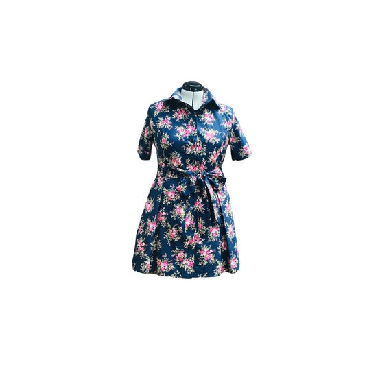 Vintage Shirt  Dress | Vintage Floral Fabric  | Shirt Dress | Summer Dress | Lounge wear