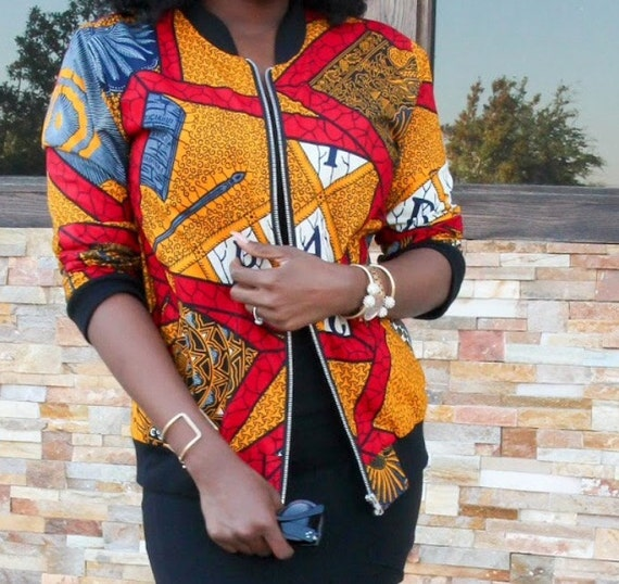 An African Winter 3: The bomber Jacket/ Wax Print Bomber Jacket