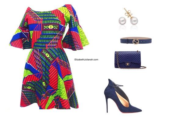 African Print Dress/Bardot Neckline
