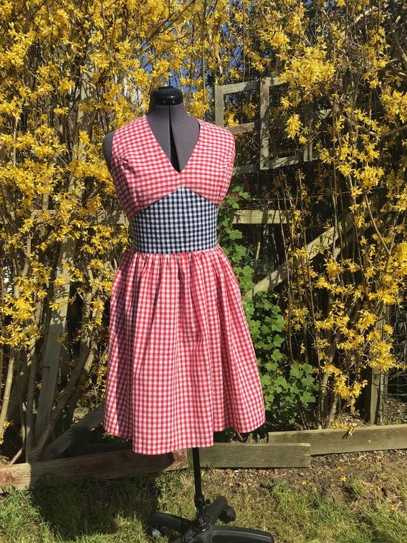 Vintage Dress Halter Neck Dress Tea Length Dress 1950's Dress Retro Dress Summer Dress Gingham Vintage Dress