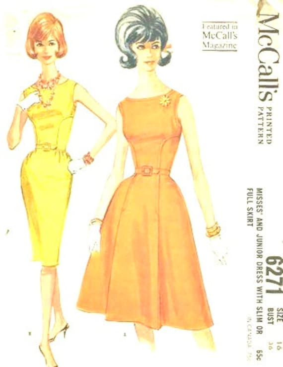 Vintage Reproduced  Dress 1960s, Mcalls 6271 reproduced Dress, Vintage Dress in various fabrics. 1962 Style