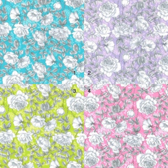 Lilac, Pink, Turquoise, Green  & White Floral Fabric