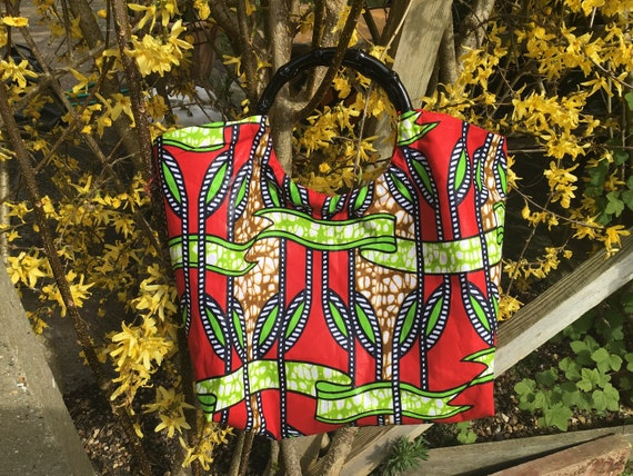African Print Tote Bag, Ring Handle Bag