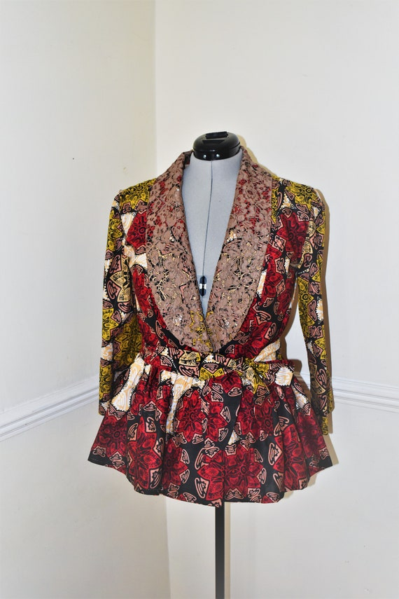 Ankara Jacket/Ankara Coat with Peplum/Wax prints/Kitenge Top/Ladies Top/Robe Wax/African Print Top/African Peplum Top