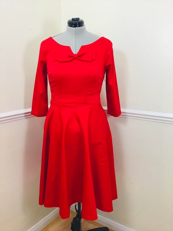 Vintage Dress/Red Dress/Womens Fashion