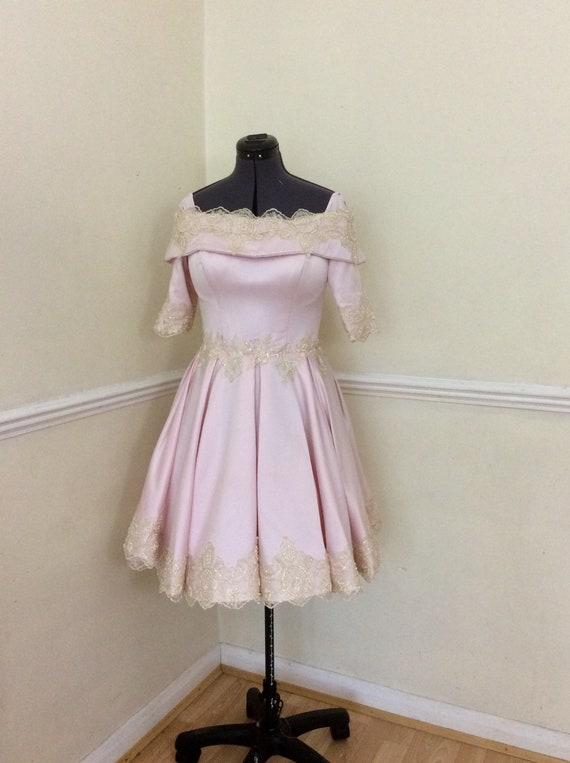 Wedding Dress, Pink Wedding Dress, Bridesmaids Dress, Tea length Wedding dress, Vintage Wedding Dress,Simple wedding dress, Marilyn Dress