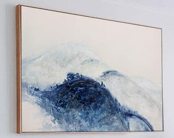 Large Abstract Painting, Contemporary Art, Oil Painting, Extra large wall art, Abstract art, Landscape oil painting, large canvas art, blue