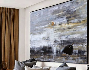 Large original abstract oil painting, Contemporary Art, Hand-painted Large wall Art, decor, Black white Oil painting gray, large canvas art