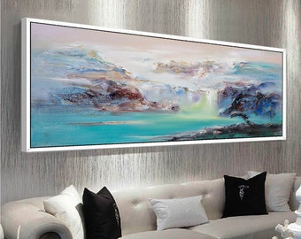 Abstract Oil Painting Contemporary Art Hand Paint Large Art extra large wall art Landscape oil painting blue painting large canvas art : large modern wall art - www.pureclipart.com