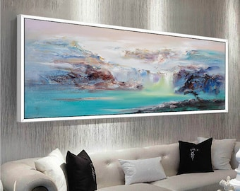 Abstract Oil Painting Contemporary Art Hand Paint Large Art extra large wall art Landscape oil painting blue painting large canvas art & Extra large wall art | Etsy