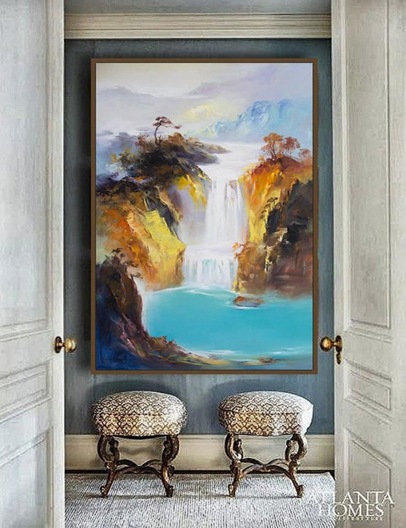 blue painting extra large wall art Contemporary Art Abstract Oil Painting large canvas art Original painting Landscape oil painting
