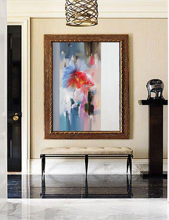 Fish painting Bedroom Decor, Oil Painting, Modern art Large wall art,  Abstract Painting, Original Art, Large canvas art, Paintings on canvas
