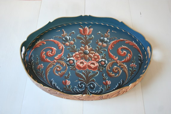 HINDELOOPEN Dutch Folk art Tray / Handpainted in the Netherlands, Friesland  by HW Zweed / Tray