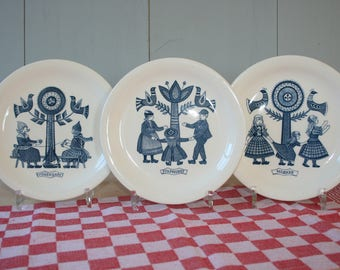 Delft blue Dutch Folk plates by REGOUT Royal Sphinx Maastricht Holland-collectible plates