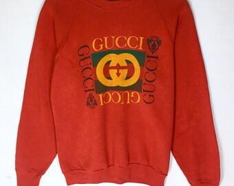 9954259d386 Rare Design Vintage Gucci Bootleg Big Logo Sweatshirt 90s.