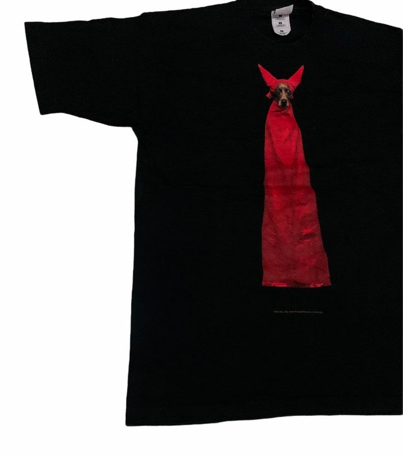 Rare Design Vintage Art William Wegman Devil Dog T-shirt 1995s