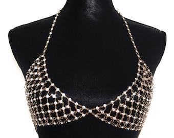 Crystal Bra, Crystal Bralette, Gold Crystal Bra Jewellery   Suradesires