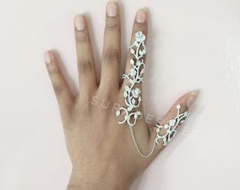 Full Finger Ring, Knuckle Ring, Ring Harness, Chain Harness, Statement Ring, Crystal Ring - One Size fits all | Suradesires