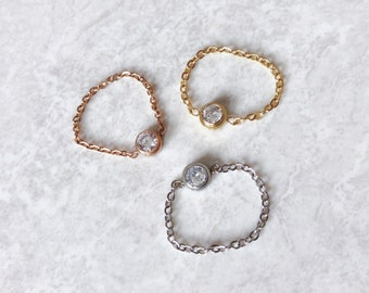Solitaire Crystal chain ring, Solitaire ring, Crystal chain ring, Chain ring | Suradesires