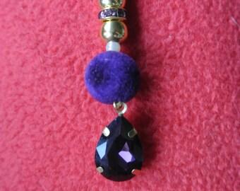 Purple Velvet and Crystal Keyring or Handbag Charm