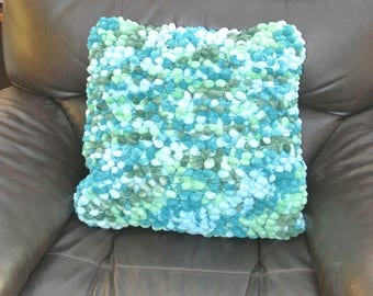 """Bobble Cushion in greens. Blues and Turquoises. 17"""" square.  Handknitted in UK"""