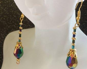 Purple/petrol Droplet Earrings