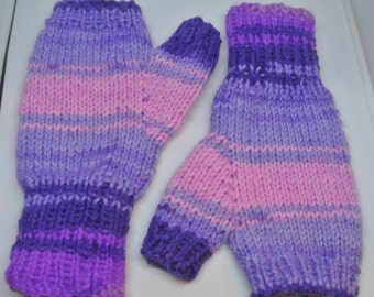 Ladies Fingerless Mitts in Pinks and Purples