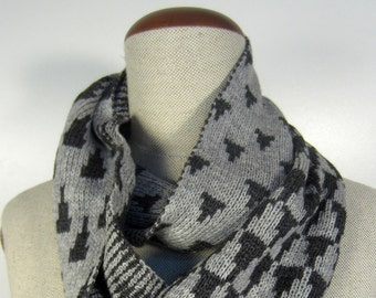 Cashmere infinity scarf, Knit infinity scarf, Loop scarf with geometric pattern, charcoal Cashmere Merino, gift for him or her, festotu
