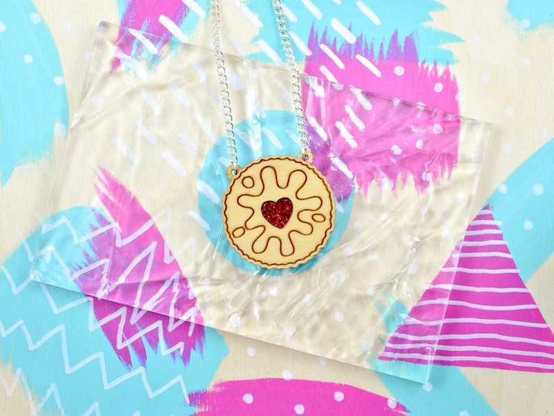 Jammie Dodger Biscuit Necklace  Laser Cut Jewellry  Acrylic image 0