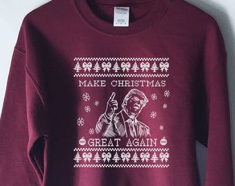 0e9bae6d2 Funny Donald Trump Ugly Christmas Sweater - Inappropriate - Funny Ugly  Christmas Sweaters - Make Christmas Great Again - Sweatshirts