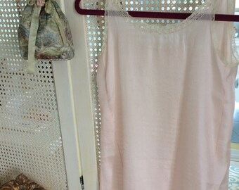 0ed9fe71152db Flapper Silk and Lace Nightgown Whisper Pink, Size S