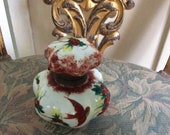 REDUCED Fabulous Antique Bulbus Porcelain Hand Painted, Bird and Florals Hinged Container or Large Inkwell