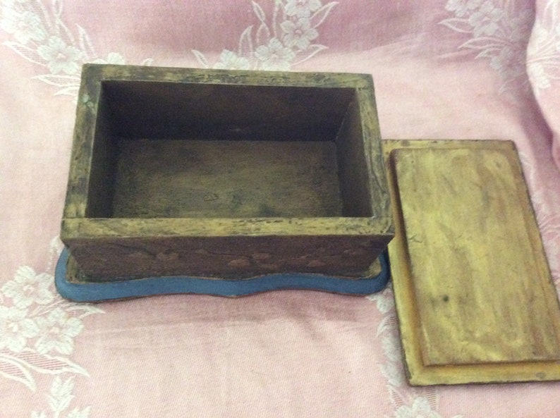 Chic not Shabby Gilt Raised Relief REDUCED Gorgeous Antique Vanity Box Hand Painting