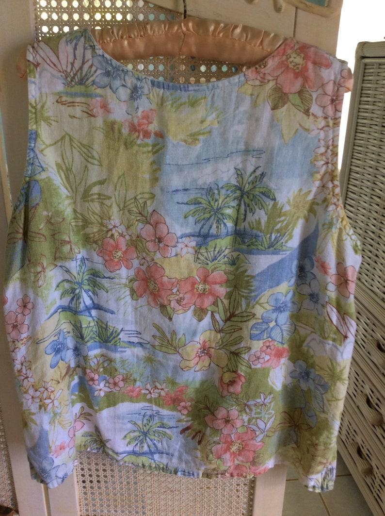 Size L Vintage Hawaiian Print Linen Sleeveless Top Mint!