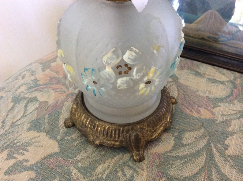 Antique Victorian Oil Lamp Base Hand Painted Embossed Glass and Brass or Metal Footed Base