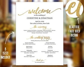 3 sizes wedding program sign poster modern wedding welcome etsy