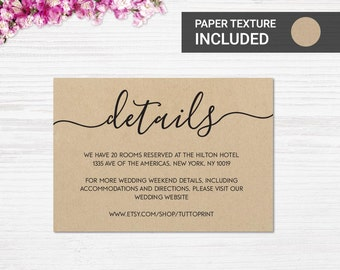Wedding details card template for rustic wedding, Wedding enclosure card template, Wedding invitation insert template, Information card